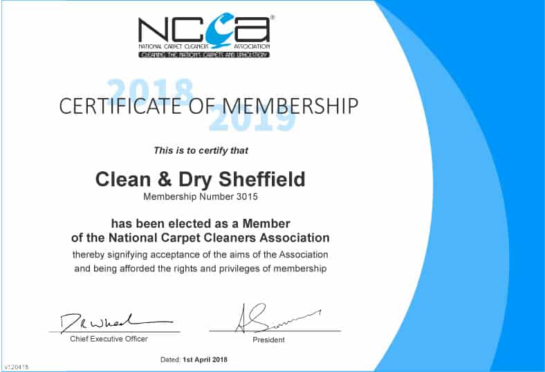 Clean & Dry Sheffield Carpet CLeaner NCCA Member Certificate