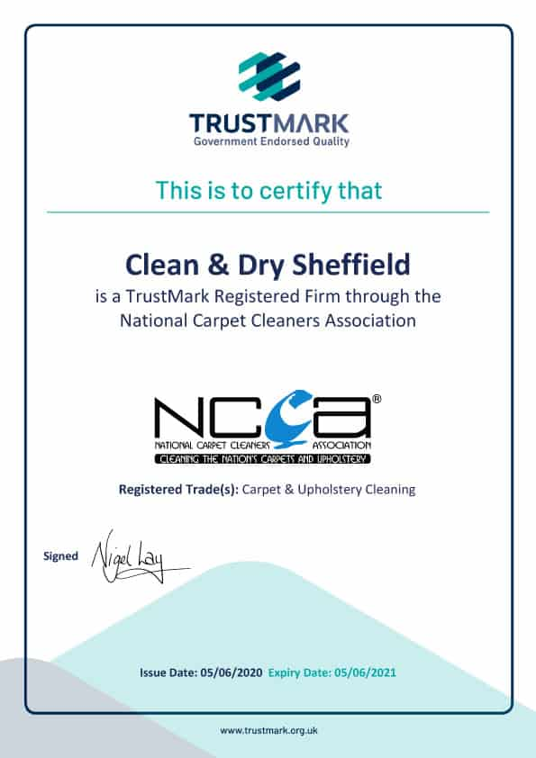 TrustMark Certificate for Carpet Cleaner Sheffield Clean and Dry